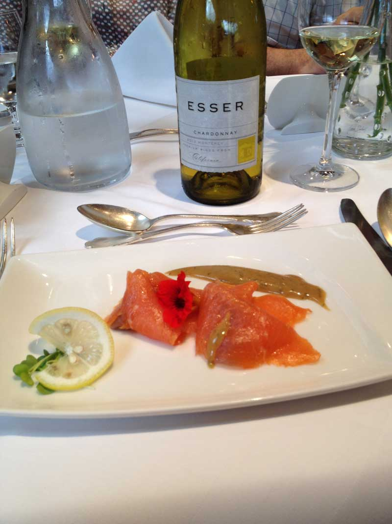 Esser Chardonnay with some superb Norwegian lox at Hotel Adler in Serfaus, Austria