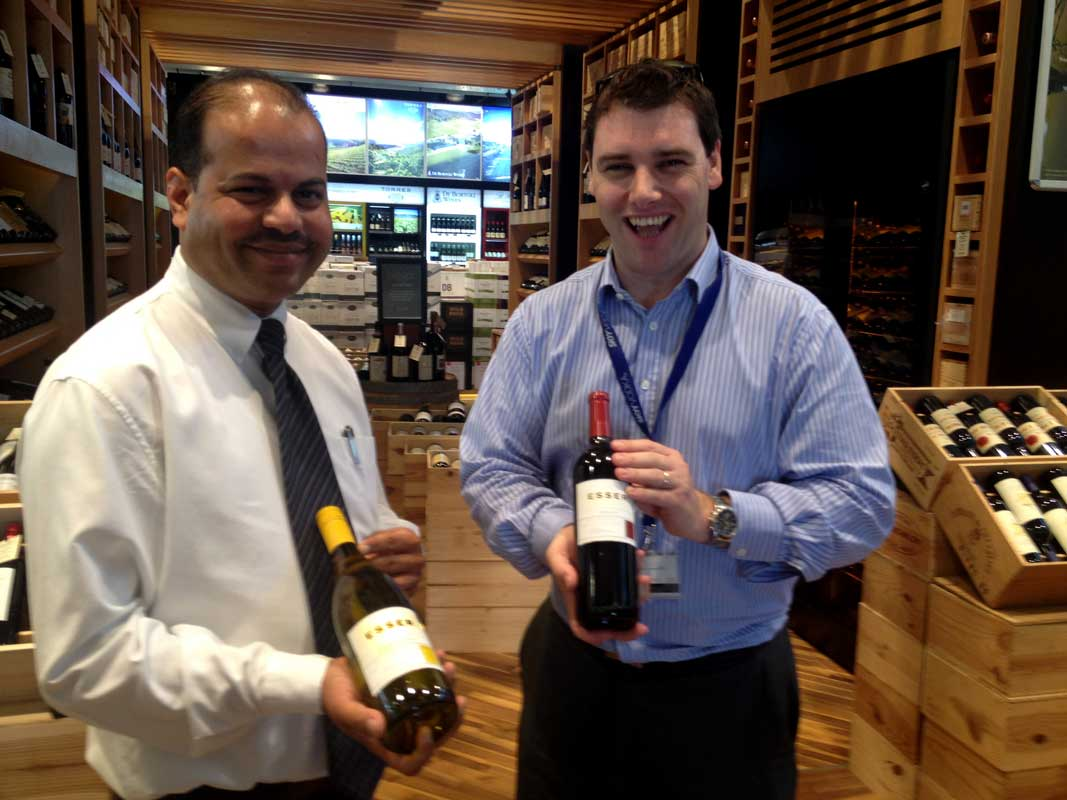 Wilson Almeida, Retail Cluster Manager and Andy Fenton, Wine Category Manager of MMI showing Esser wines at their largest retail operation north of Dubai.