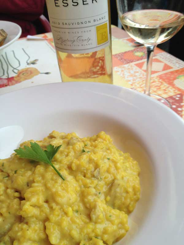 Risotto con Funghi with Esser Sauvignon Blanc at the Grotto Ticino in Valla Verzasca.