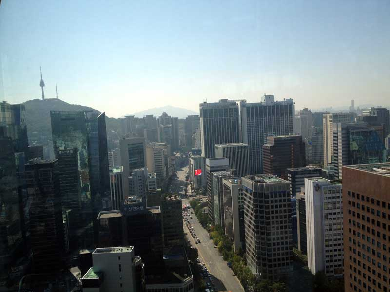 The view of downtown Seoul from TopCloud Restaurant in the Intercontinental Hotel