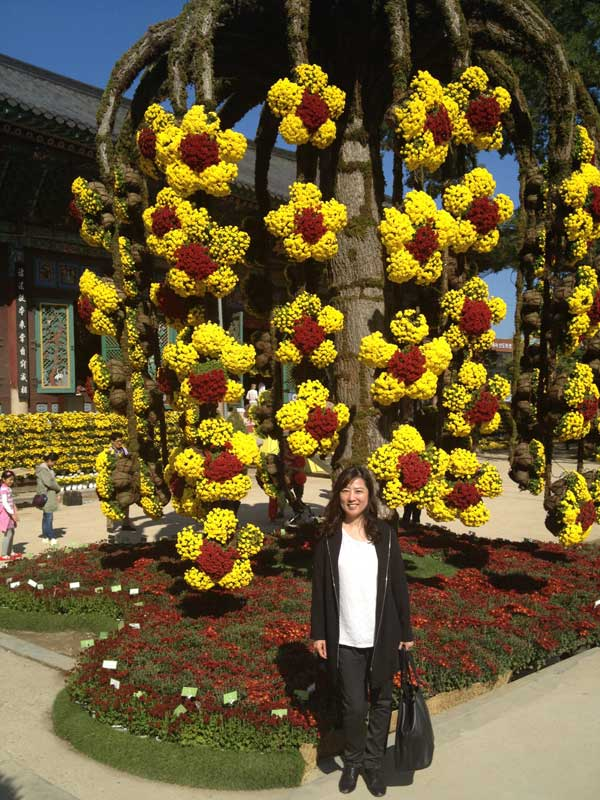 Jenny Park of Nara Cellars enjoying the beautiful fall colors of Seoul