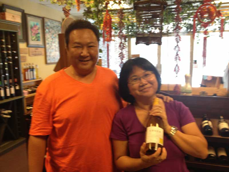 Mr. Vincent and Ruby Yong of Vineyard retail store, Kuala Lumpur, Malaysia enjoy a great bottle of 2012 Esser Chardonnay