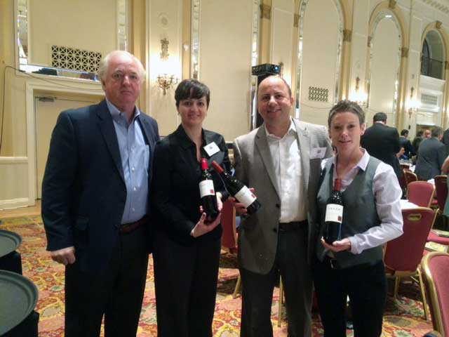 Esser Vineyards Tom Purcell, Despina Triantos, Alex Patinios ( president, Dionysus) and Gillian Farnsworth at consumer tasting held by LCBO in Ontario