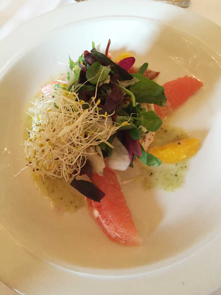 Chilled Lobster Salad with Florida citrus sections, served with Esser Chardonnay