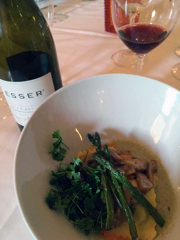 Porcini Mushrooms & Asparagus Ravioli served with Esser Pinot Noir