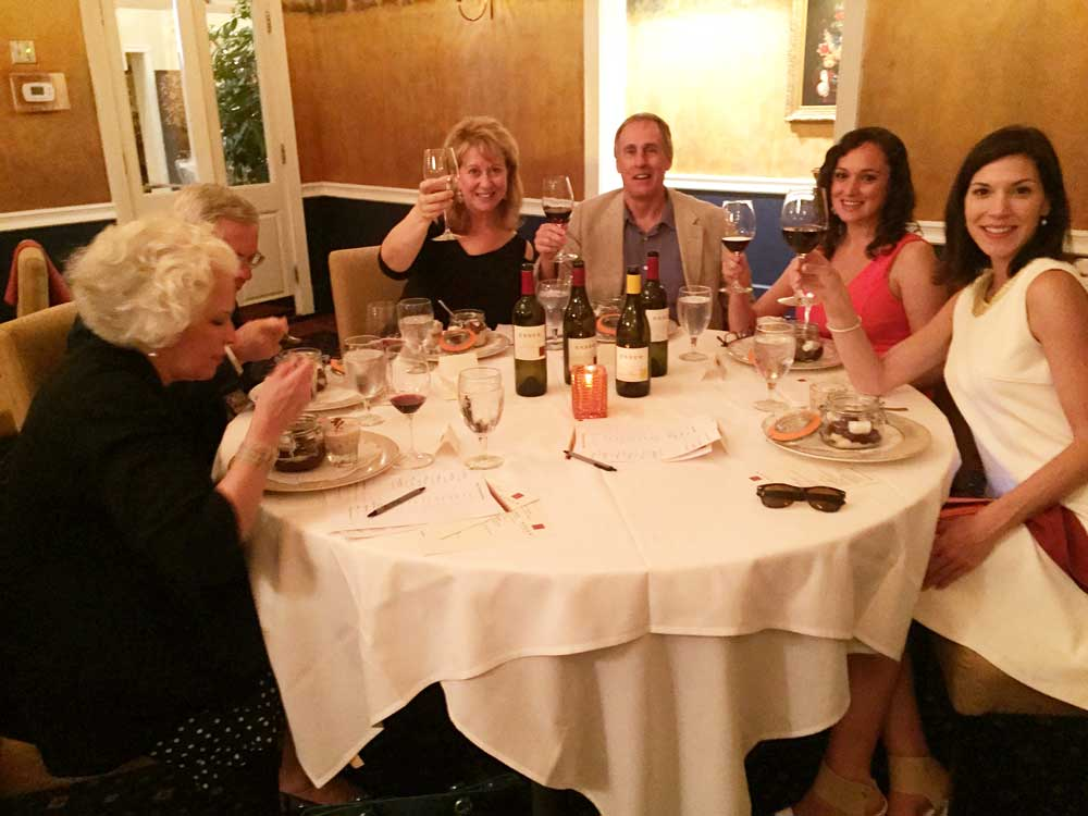 Friends enjoying their evening and the Esser Wines