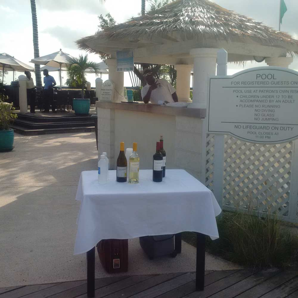 Small Esser wine tasting for guests at Hemingway's Providenciales